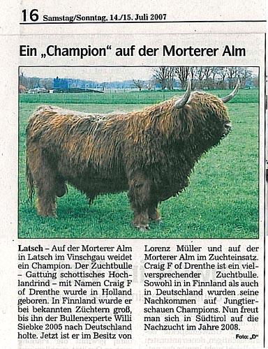 Altre referenze (articoli di giornali in lingua tedesca, foto)